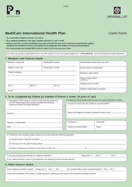 Patient Universal Claim Form Template