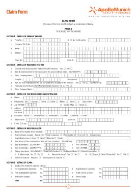 Hospital Plan Insurance Claim Form Template