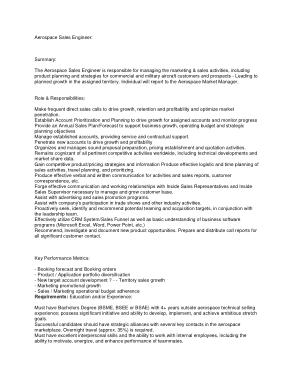 Free Download PDF Books, Aerospace Sales Engineer Job Description Template