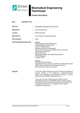 Free Download PDF Books, Biomedical Engineering Technician Job Description Template