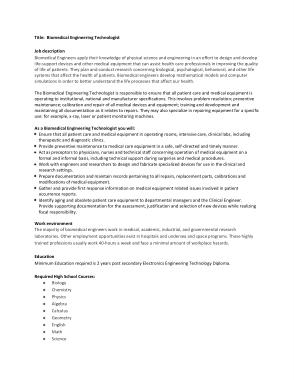 Free Download PDF Books, Biomedical Engineering Technologist Job Description Template