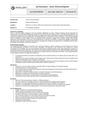 Senior Chemical Engineering Job Description Template