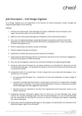 Free Download PDF Books, Civil Design Engineer Job Profile Description Template