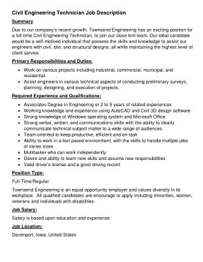 Free Download PDF Books, Civil Engineering Technician Job Description Template