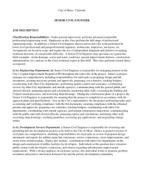 Free Download PDF Books, Senior Civil Engineer Job Description Template