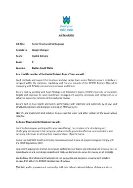 Free Download PDF Books, Senior Structural Civil Engineer Job Description Template