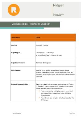 Free Download PDF Books, Engineer Trainee Job Description Template