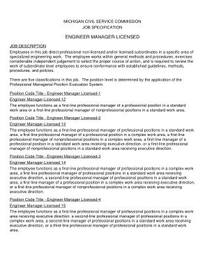 Free Download PDF Books, Sample Engineer Manager Licensed Job Description Template