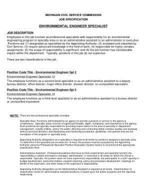 Free Download PDF Books, Environmental Engineer Specialist Job Description Template
