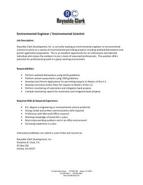 Free Download PDF Books, Generic Environmental Engineer Job Description Template