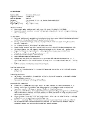 Free Download PDF Books, Professional Environmental Engineer Job Description Template