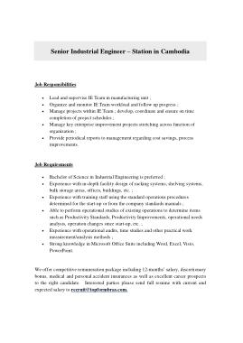 Free Download PDF Books, Sample Senior Industrial Engineer Job Description Template