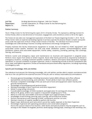 Free Download PDF Books, Building Maintenance Engineer Job Description Template