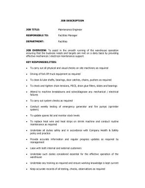 Free Download PDF Books, Engineer Maintenance Job Description Template