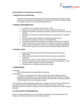 Free Download PDF Books, Junior Maintenance Engineer Job Description Template