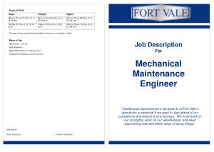 Free Download PDF Books, Mechanical Maintenance Engineer Job Description Template