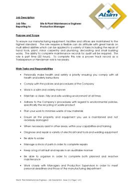 Free Download PDF Books, Plant Maintenance Engineer Job Description Example Template