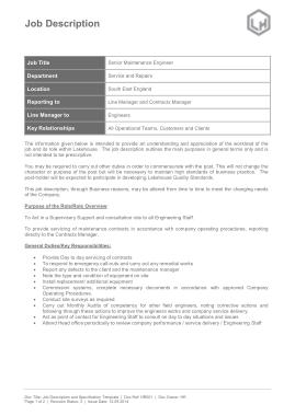 Senior Maintenance Engineer Job Description Template