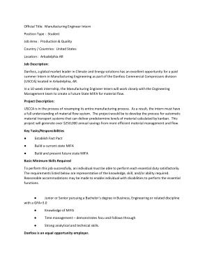 Free Download PDF Books, Manufacturing Engineer Intern Job Description Template