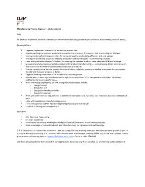 Free Download PDF Books, Manufacturing Process Engineer Job Description Template