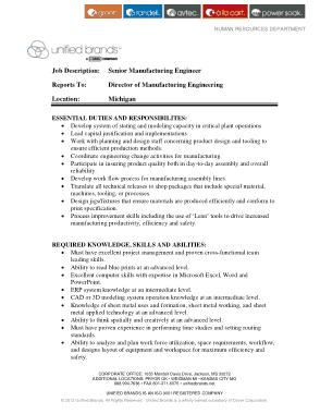 Free Download PDF Books, Sample Senior Manufacturing Engineer Job Description Template