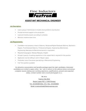 Free Download PDF Books, Assistant Mechanical Engineer Job Description Template