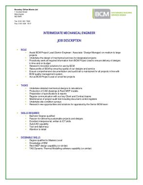 Free Download PDF Books, Intermediate Mechanical Engineer Job Description Template