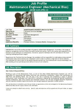 Free Download PDF Books, Mechanical Maintenance Engineer Job Profile Description Template