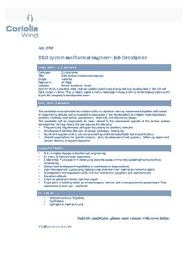 Rnd System Mechanical Engineer Job Description Template