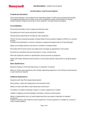 Free Download PDF Books, Job Description For Lead Process Engineer Template