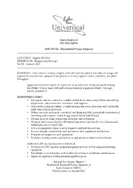 Free Download PDF Books, Mechanical Process Engineer Job Description Template