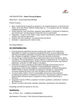 Free Download PDF Books, Senior Process Engineer Job Description Template