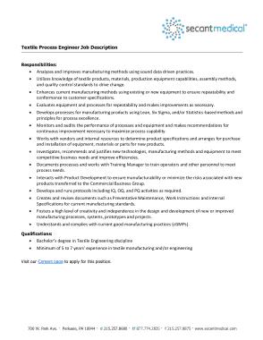 Free Download PDF Books, Textile Process Engineer Job Description Template