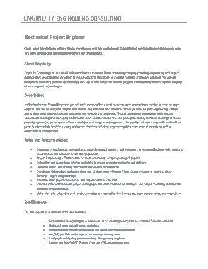 Free Download PDF Books, Mechanical Project Engineering Job Description Template