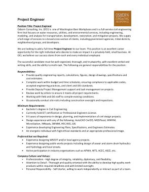 Project Engineer Job Description Responsibilities Format Template