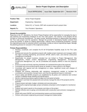 Free Download PDF Books, Senior Project Engineer Job Description Sample Template