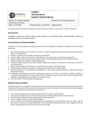 Free Download PDF Books, Sample Supplier Quality Engineer Job Description Template