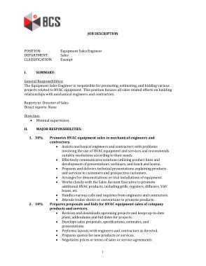 Free Download PDF Books, Equipment Sales Engineer Job Description Template
