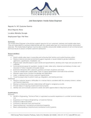 Free Download PDF Books, Inside Sales Engineer Job Description Template