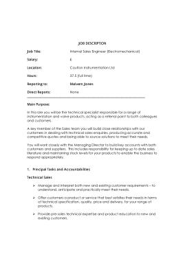 Free Download PDF Books, Internal Sales Engineer Job Description Format Template