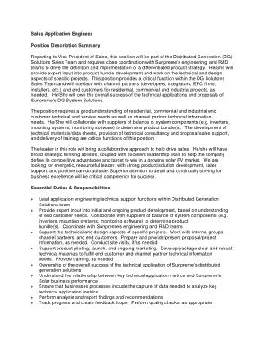 Free Download PDF Books, Sales Application Engineer Job Description Template