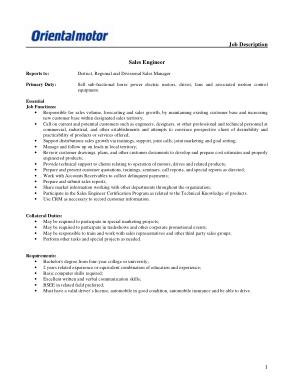 Free Download PDF Books, Sales Engineer Job Description Sample Template