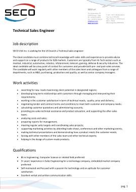 Free Download PDF Books, Sales Engineer Job Description Template