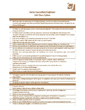 Free Download PDF Books, Sales Executive Engineer Job Description Template