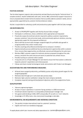 Free Download PDF Books, Sample Pre Sales Engineer Job Description Template