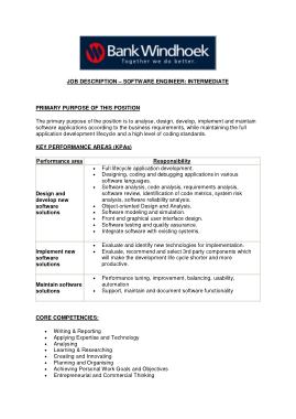 Free Download PDF Books, Intermediate Software Engineer Job Description Template