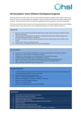 Free Download PDF Books, Software Development Engineer Job Description Template