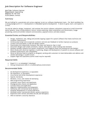 Free Download PDF Books, Software Engineer Job Description Template