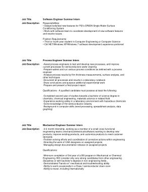 Free Download PDF Books, Software Engineer Summer Intern Job Description Template