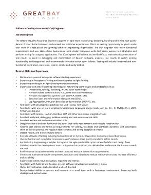 Free Download PDF Books, Software Quality Engineer Job Description Template